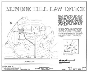 A topographical view of the Monroe Hill Law Office, the first portion of a building complex which later became part of the University of Virginia. Photo courtesy of the Library of Congress.