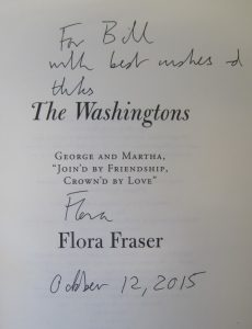 An image of the inscription Flora wrote to Washington Papers Associate Editor William M. Ferraro.