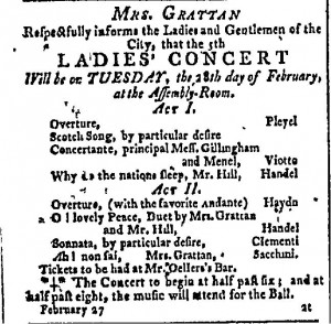 A newspaper advertisement for the Fifth Ladies Concert.