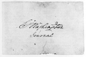 Washington's signature on the first page of his war journal. Image courtesy of the Library of Congress.