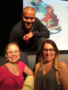 Washington Papers staff members Lynn Price (lower left) and Elisa Shields (lower right) met Christopher Jackson (top), who plays George Washington in the Broadway musical Hamilton, during a National Endowment for the Humanities event.