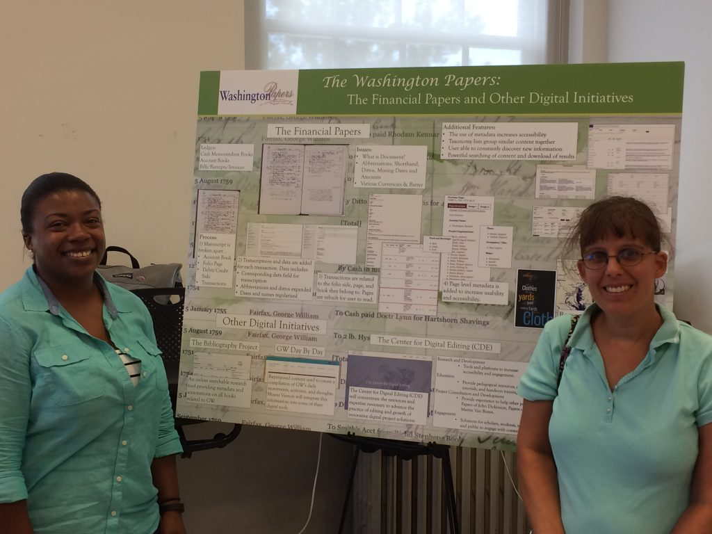 Washington Papers editors Erica Cavanaugh (left) and Adrina Garbooshian-Huggins (right) shared the George Washington Financial Papers project at a National Endowment for the Humanities workshop.