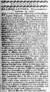 Advertisement: Virginia Gazette, Purdie: Sept. 19, 1777 – pg. 2, col. 1. Image courtesy of the Omohundro Institute at William and Mary.