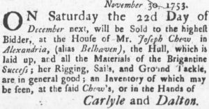 Sale of the Success. Maryland Gazette, December 20, 1753.