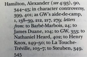 Image of the index entry for Alexander Hamilton (1757-1804) from Revolutionary War Series, vol. 26.