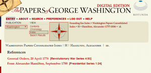 Image of the list of I.D.s for Alexander Hamilton (1757-1804) that are available on the PGWDE.