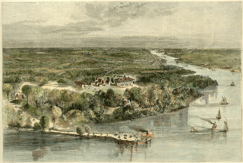 "After Theodore R. Davis, ""Mount Vernon, 1874,"" hand-colored engraving, published in Harper's Weekly (Feb. 28, 1874)."
