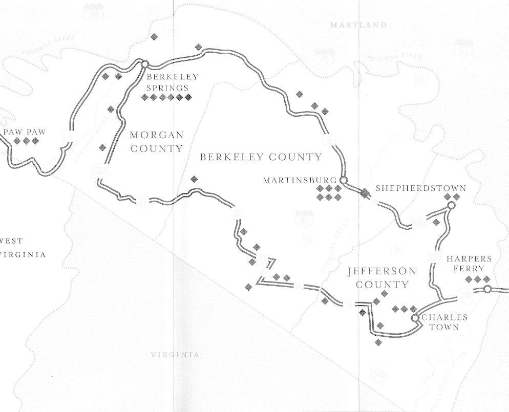 Map of the Washington Heritage Trail National Scenic Byway.